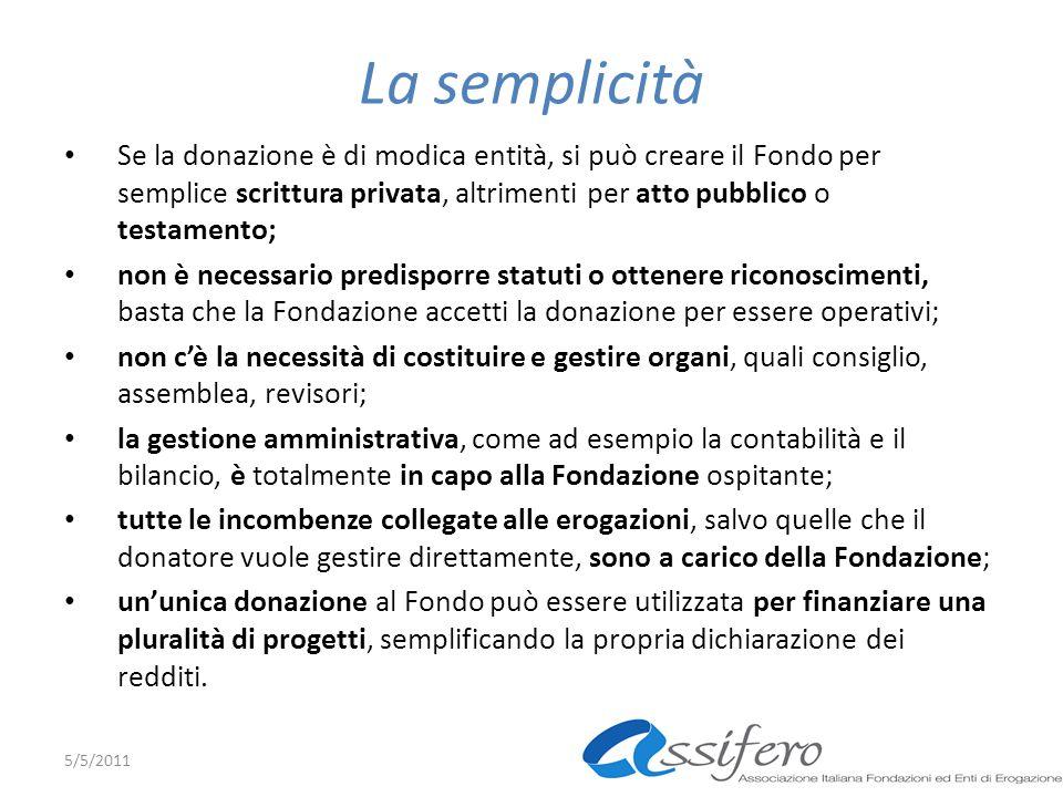La semplicità Se la donazione è di modica entità, si può creare il Fondo per semplice scrittura privata, altrimenti per atto pubblico o testamento;