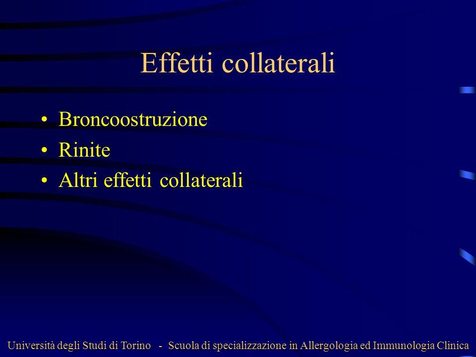 Effetti collaterali Broncoostruzione Rinite Altri effetti collaterali