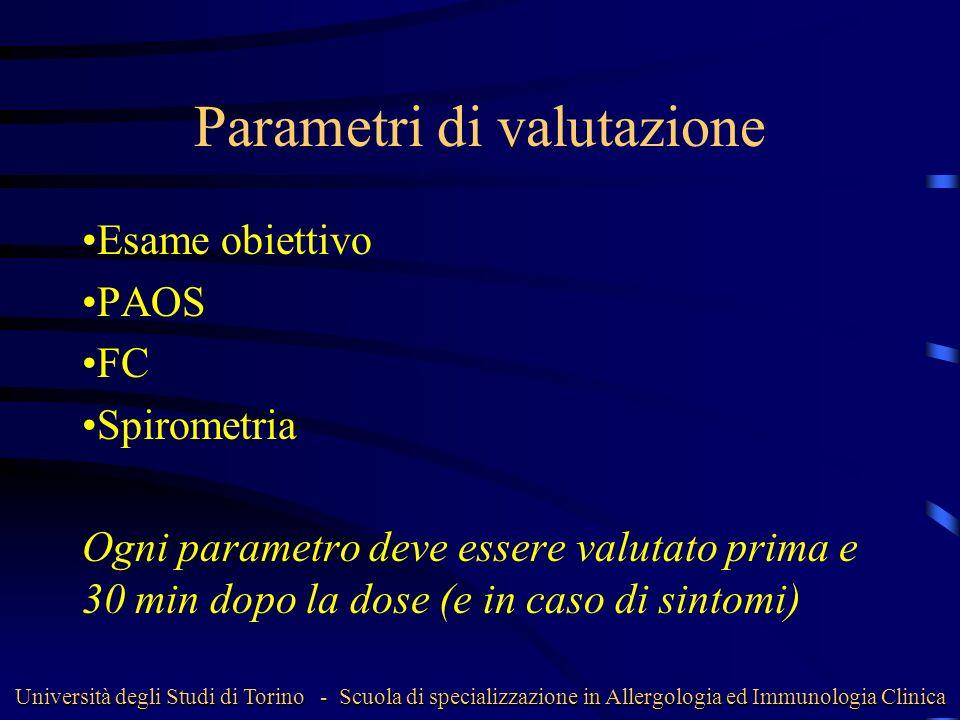 Parametri di valutazione