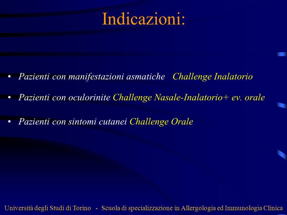 Indicazioni: Pazienti con manifestazioni asmatiche Challenge Inalatorio. Pazienti con oculorinite Challenge Nasale-Inalatorio+ ev. orale.