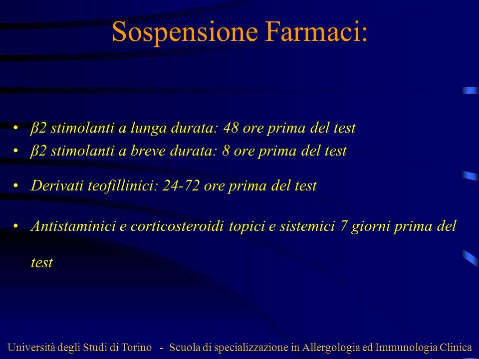 Sospensione Farmaci: β2 stimolanti a lunga durata: 48 ore prima del test. β2 stimolanti a breve durata: 8 ore prima del test.