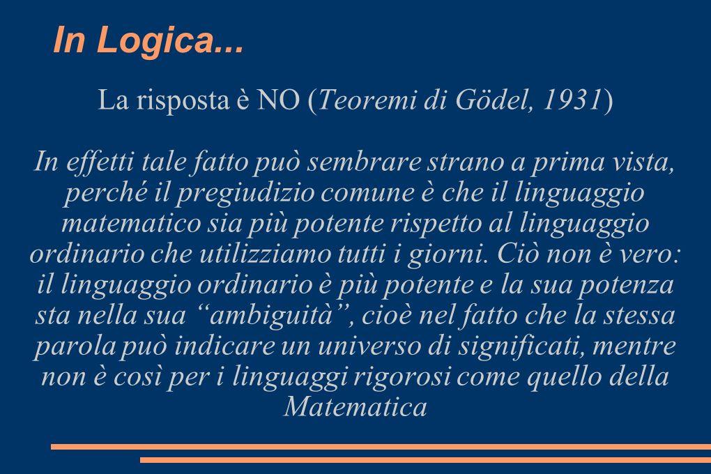 La risposta è NO (Teoremi di Gödel, 1931)