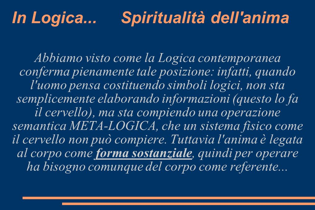 In Logica... Spiritualità dell anima