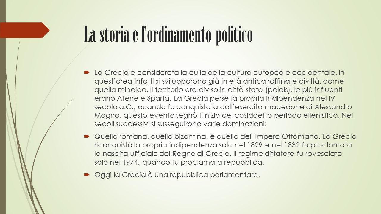 La storia e l'ordinamento politico