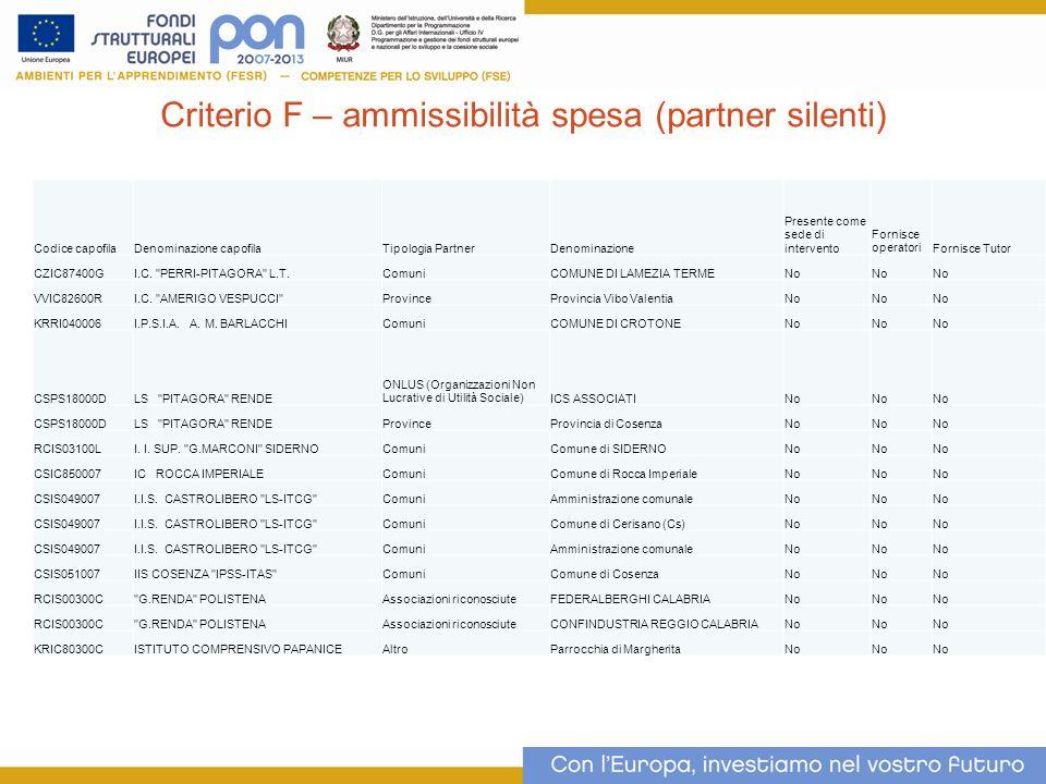 Criterio F – ammissibilità spesa (partner silenti)