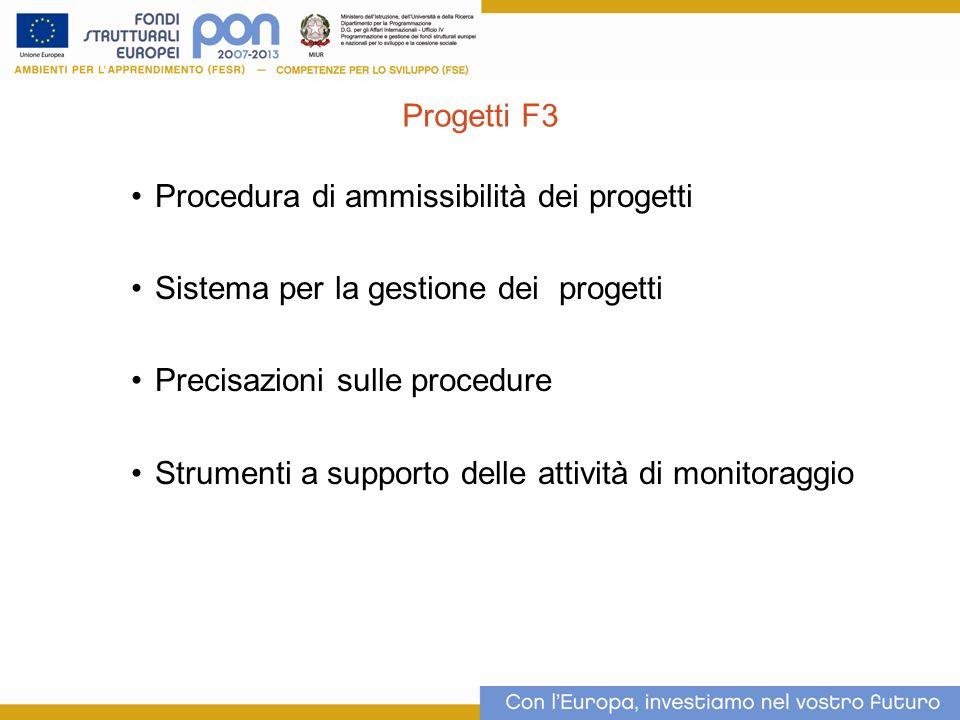 Procedura di ammissibilità dei progetti