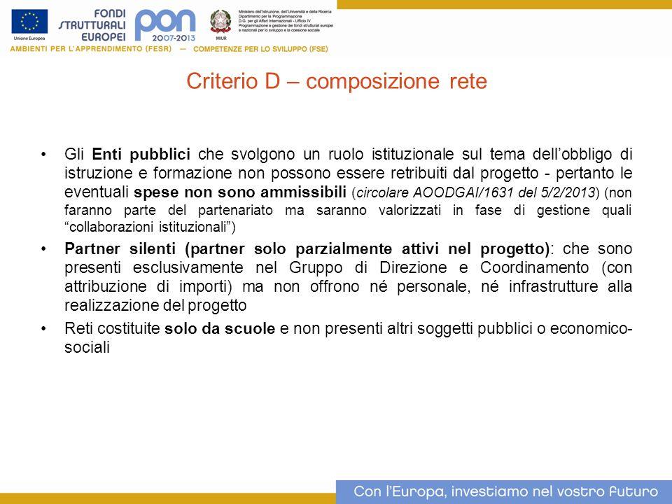 Criterio D – composizione rete
