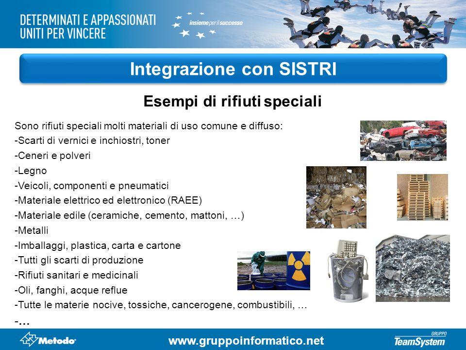 Integrazione con SISTRI Esempi di rifiuti speciali