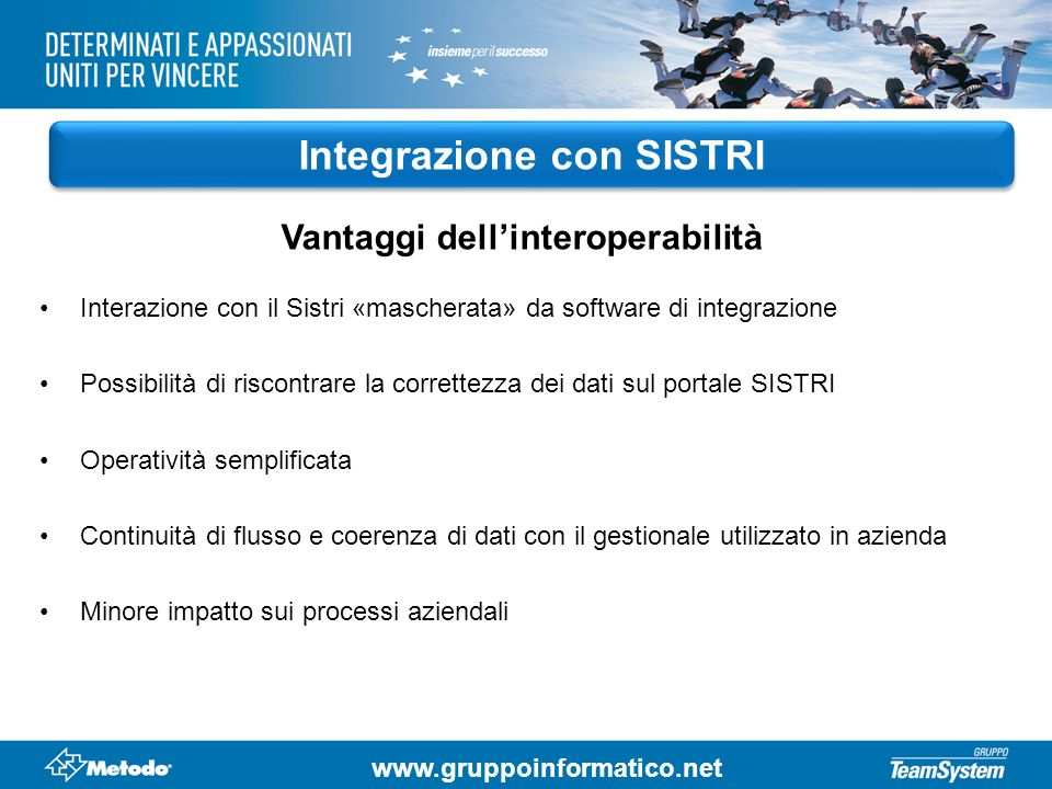 Integrazione con SISTRI Vantaggi dell'interoperabilità