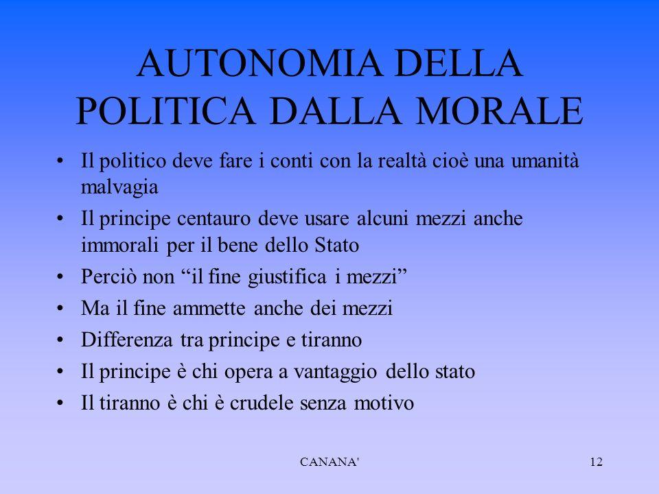 AUTONOMIA DELLA POLITICA DALLA MORALE