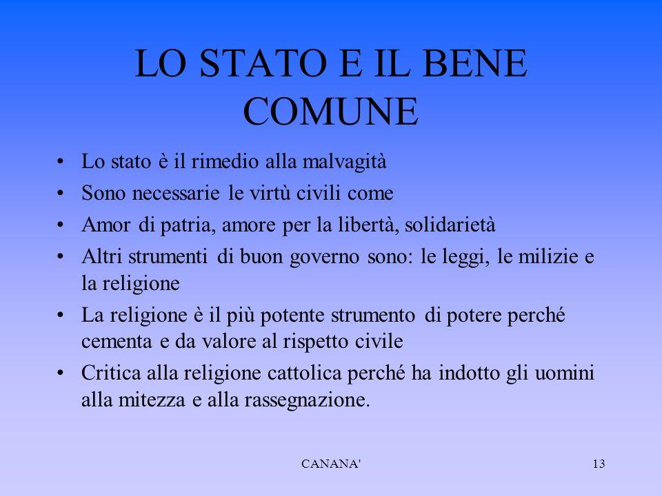 LO STATO E IL BENE COMUNE