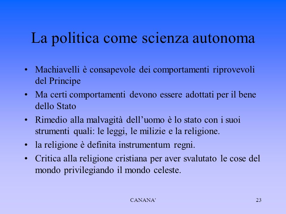 La politica come scienza autonoma