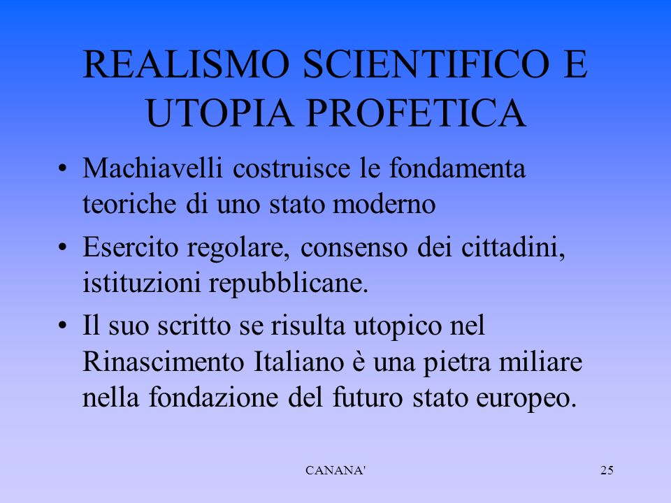 REALISMO SCIENTIFICO E UTOPIA PROFETICA