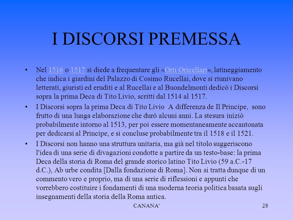 I DISCORSI PREMESSA