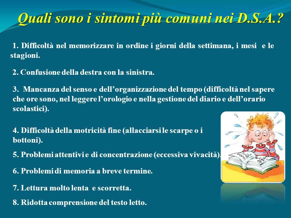 Quali sono i sintomi più comuni nei D.S.A.