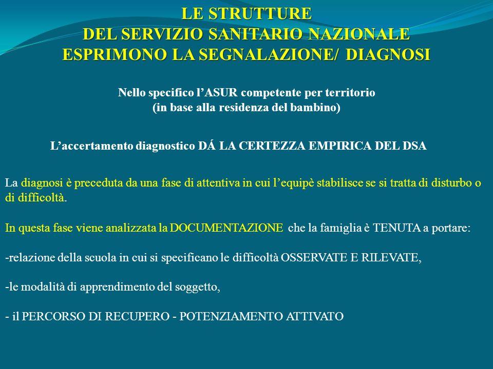 DEL SERVIZIO SANITARIO NAZIONALE ESPRIMONO LA SEGNALAZIONE/ DIAGNOSI