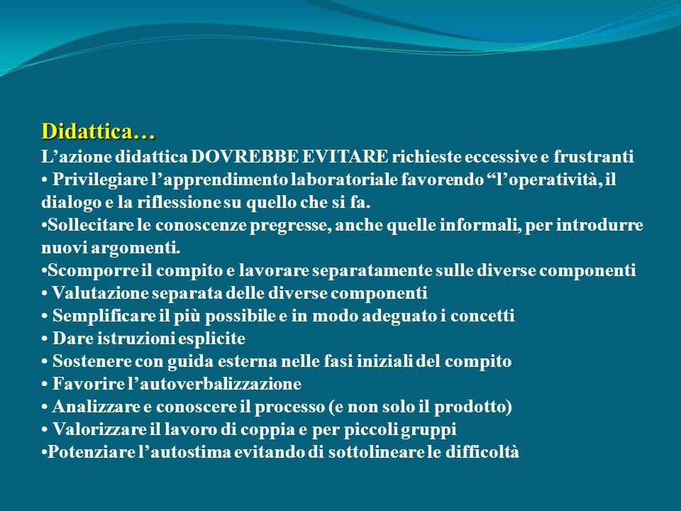 Didattica… L'azione didattica DOVREBBE EVITARE richieste eccessive e frustranti.