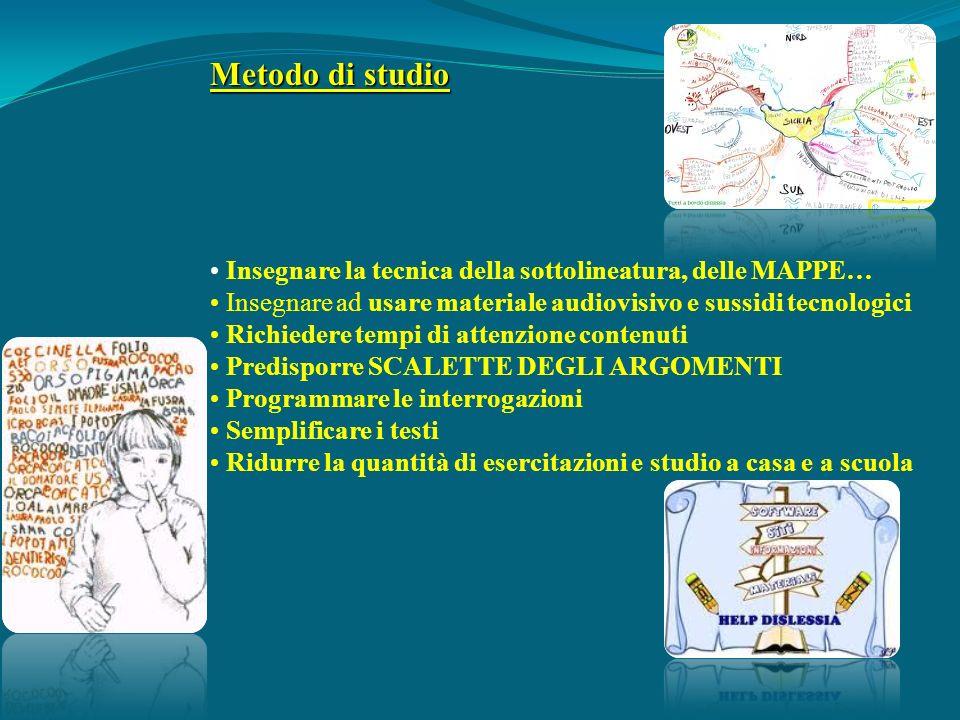 Metodo di studio • Insegnare la tecnica della sottolineatura, delle MAPPE… • Insegnare ad usare materiale audiovisivo e sussidi tecnologici.