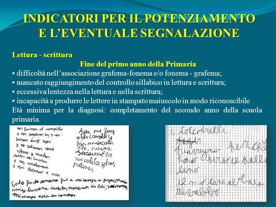 INDICATORI PER IL POTENZIAMENTO E L'EVENTUALE SEGNALAZIONE
