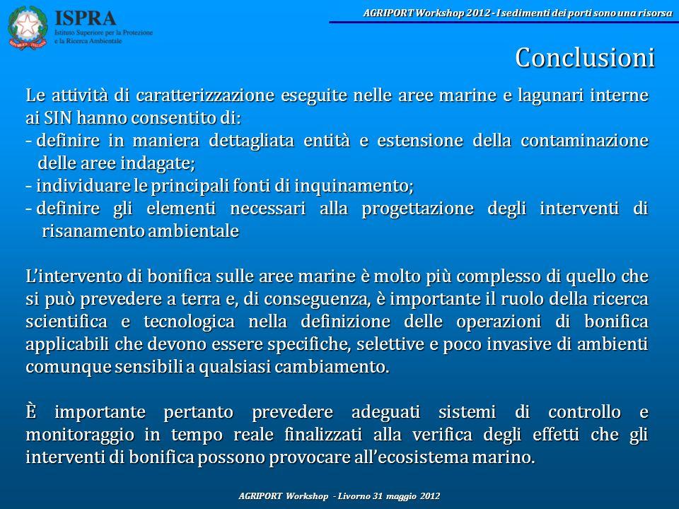 Conclusioni Le attività di caratterizzazione eseguite nelle aree marine e lagunari interne ai SIN hanno consentito di: