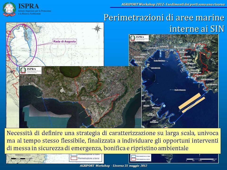 Perimetrazioni di aree marine interne ai SIN