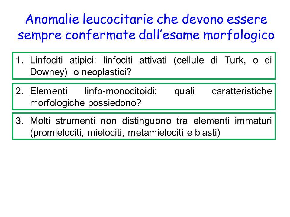 Anomalie leucocitarie che devono essere sempre confermate dall'esame morfologico