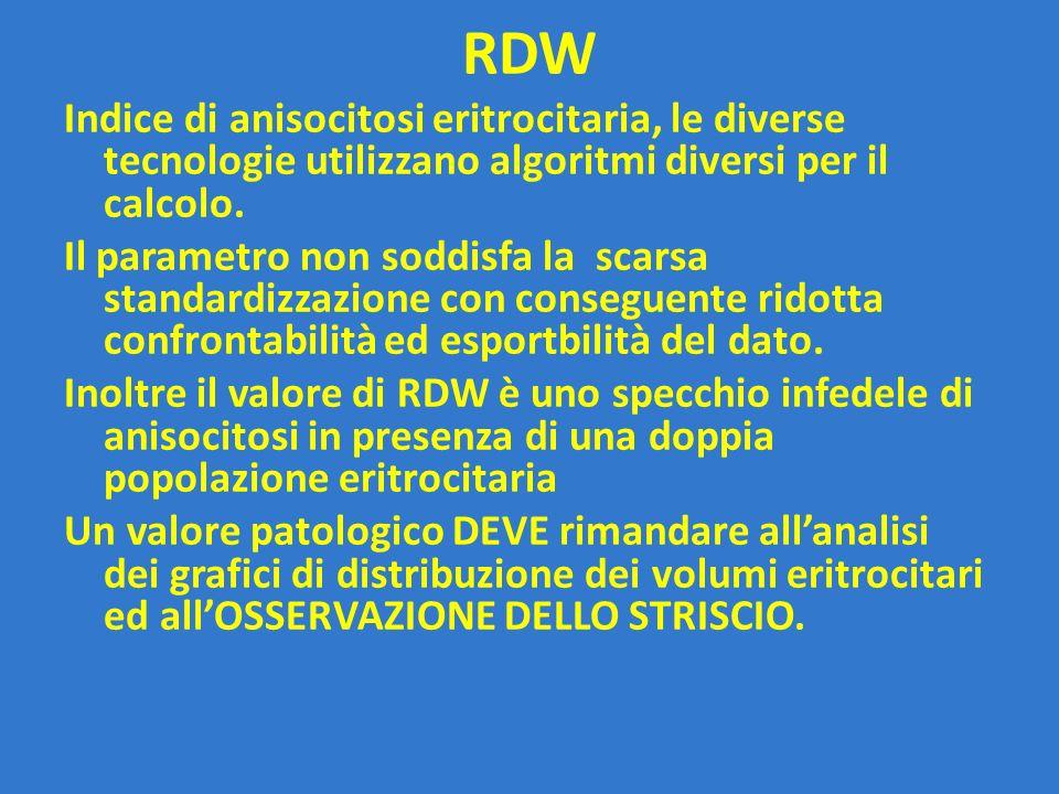 RDW Indice di anisocitosi eritrocitaria, le diverse tecnologie utilizzano algoritmi diversi per il calcolo.