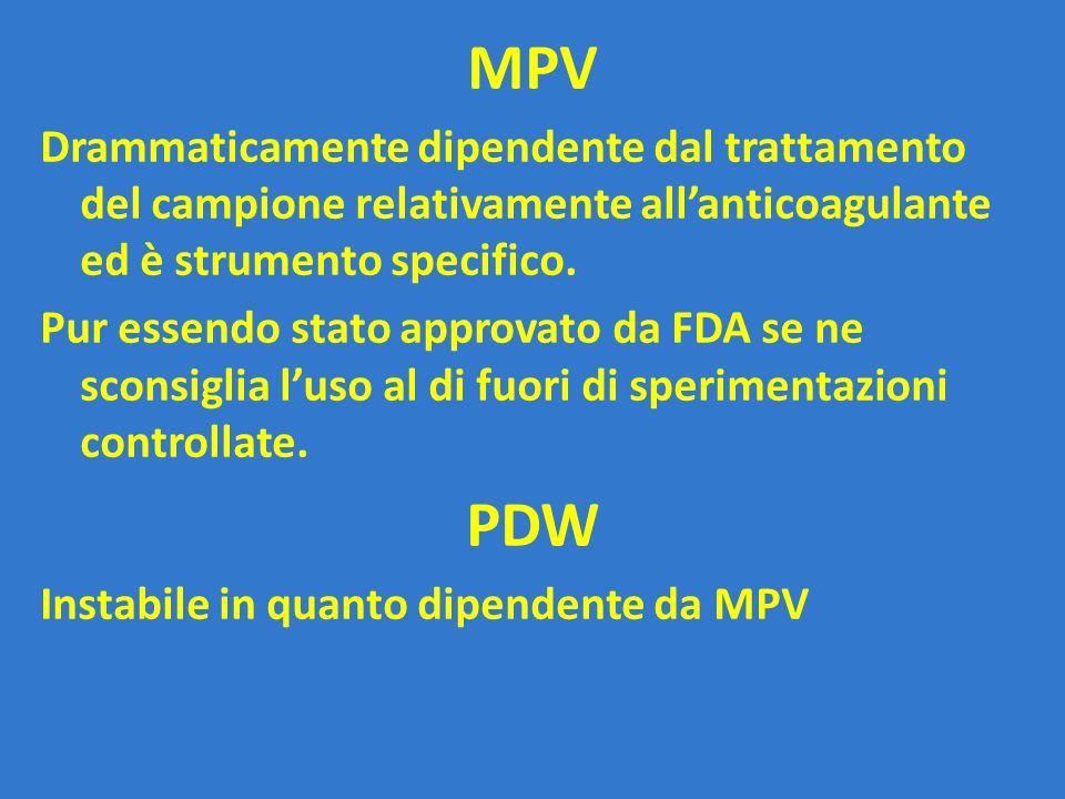 MPV Drammaticamente dipendente dal trattamento del campione relativamente all'anticoagulante ed è strumento specifico.