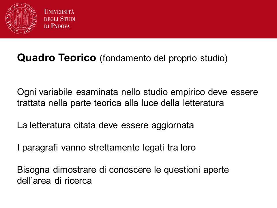 Quadro Teorico (fondamento del proprio studio)