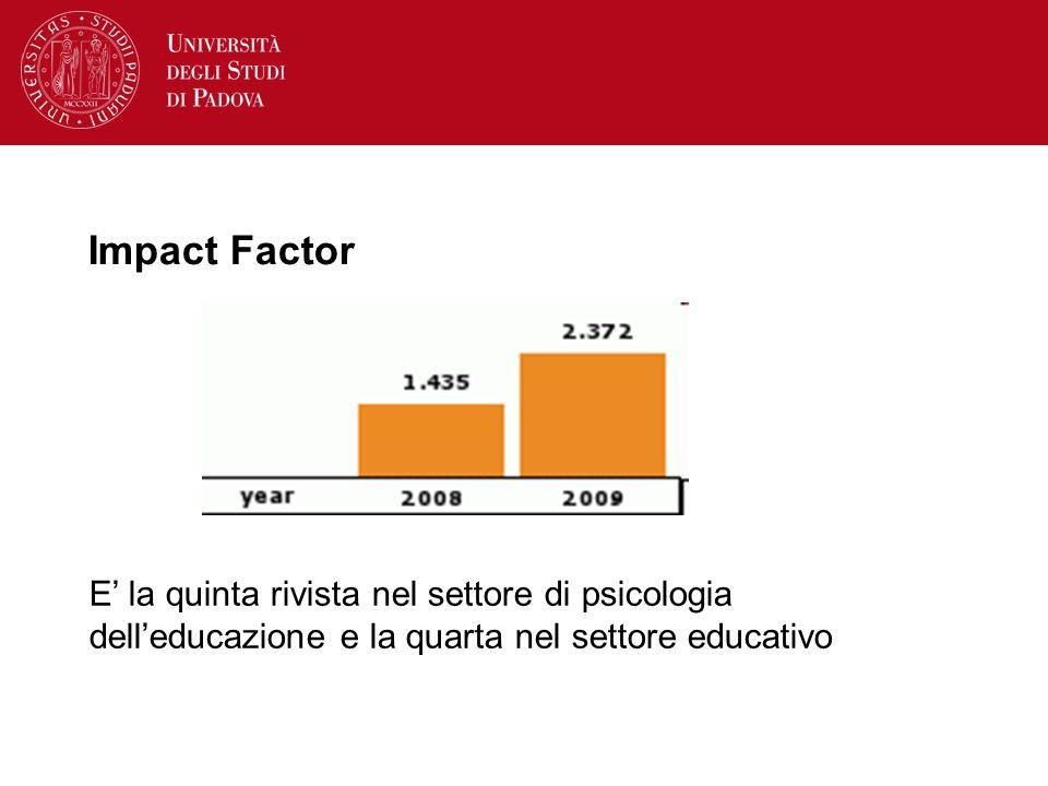 Impact Factor E' la quinta rivista nel settore di psicologia dell'educazione e la quarta nel settore educativo.