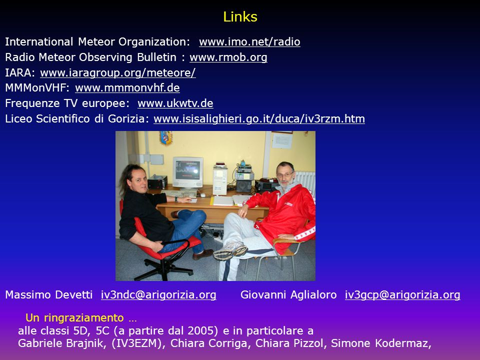 Links International Meteor Organization: www.imo.net/radio