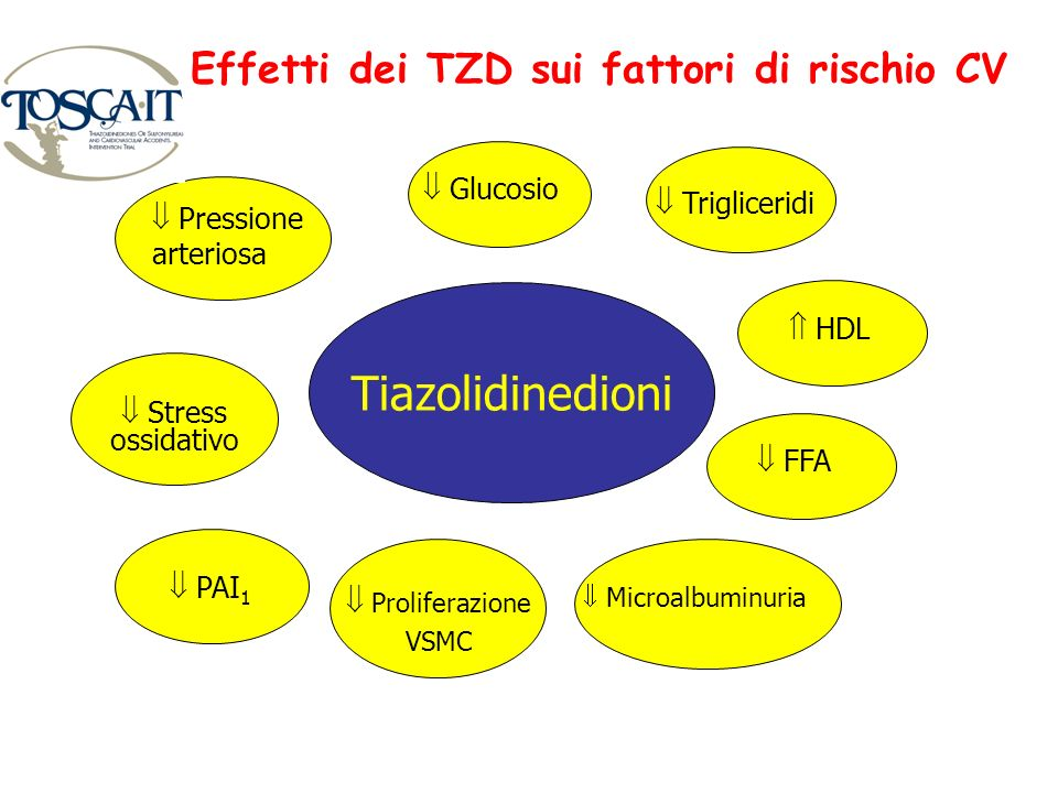 Effetti dei TZD sui fattori di rischio CV