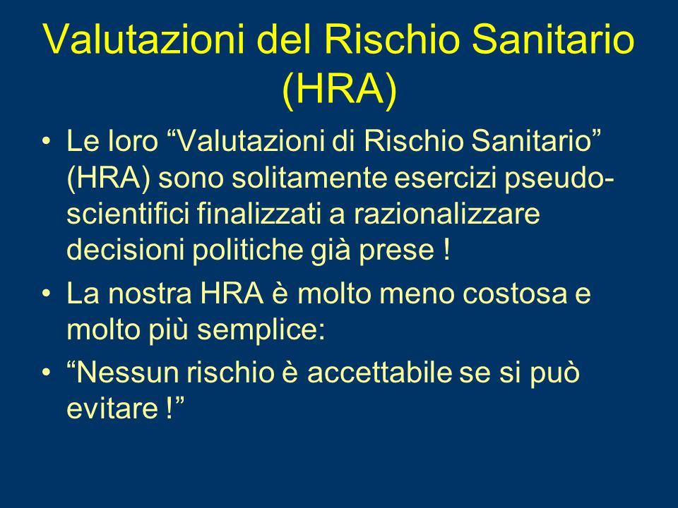 Valutazioni del Rischio Sanitario (HRA)