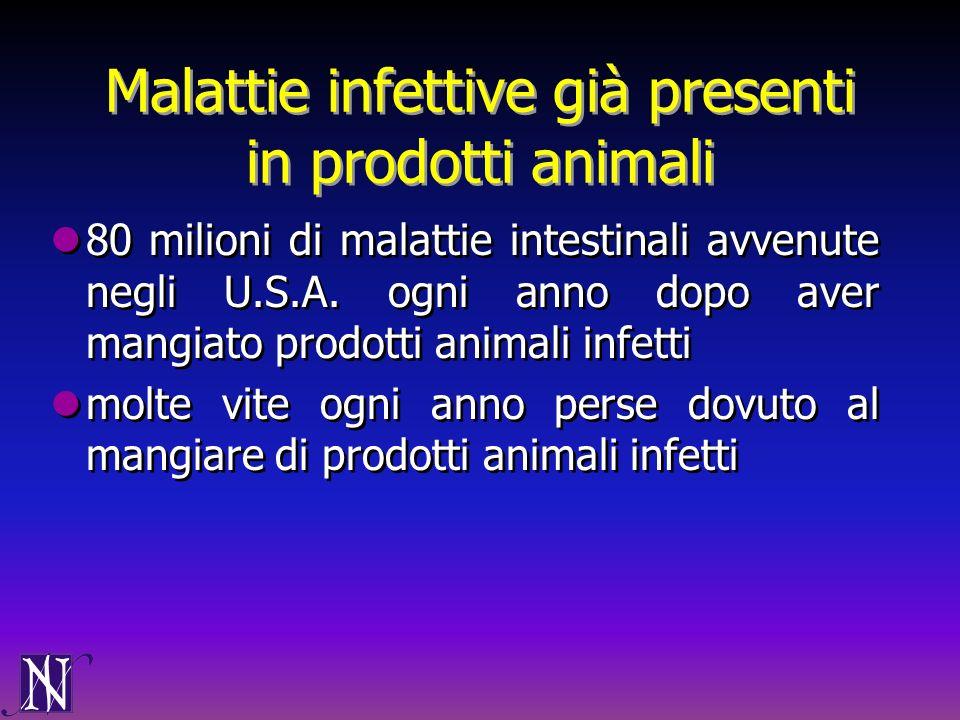 Malattie infettive già presenti in prodotti animali