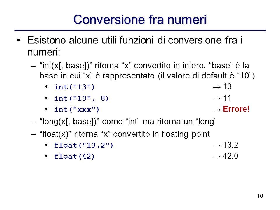 Conversione fra numeri