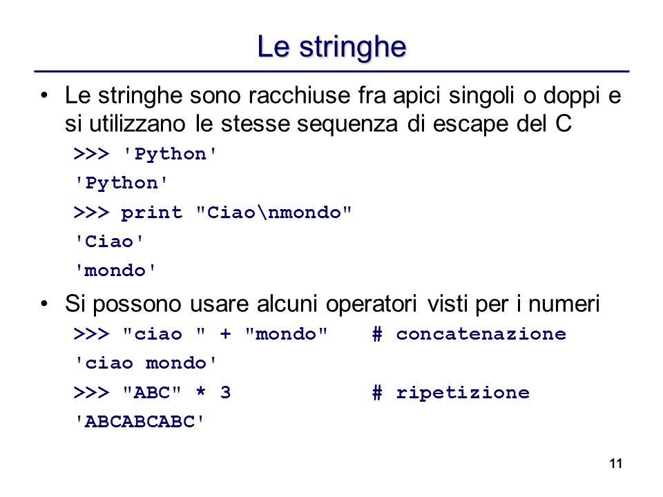 Le stringhe Le stringhe sono racchiuse fra apici singoli o doppi e si utilizzano le stesse sequenza di escape del C.