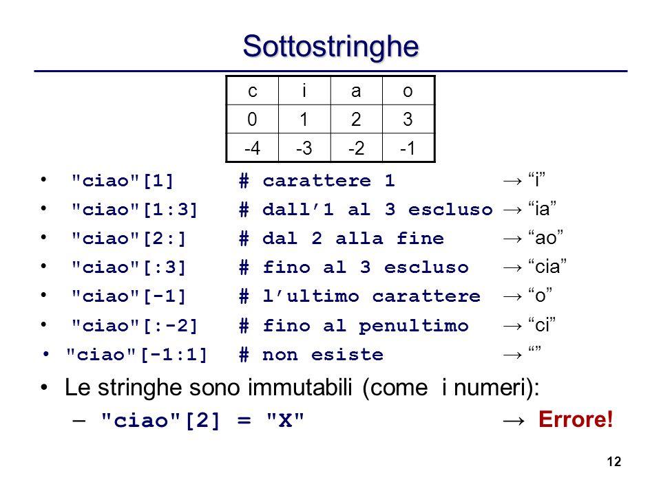 Sottostringhe Le stringhe sono immutabili (come i numeri):
