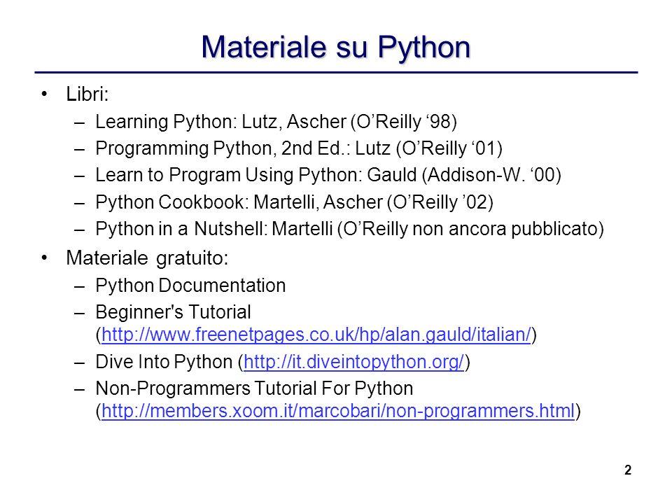 Materiale su Python Libri: Materiale gratuito:
