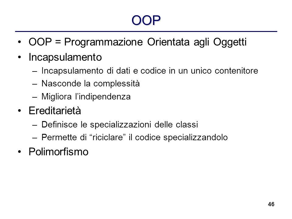 OOP OOP = Programmazione Orientata agli Oggetti Incapsulamento