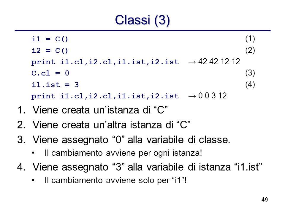 Classi (3) Viene creata un'istanza di C