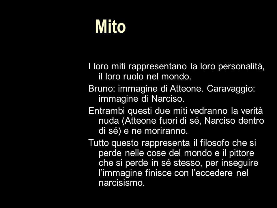 Mito I loro miti rappresentano la loro personalità, il loro ruolo nel mondo. Bruno: immagine di Atteone. Caravaggio: immagine di Narciso.