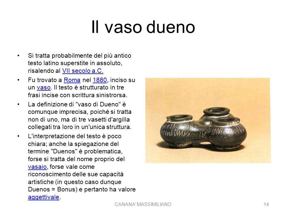 Il vaso dueno Si tratta probabilmente del più antico testo latino superstite in assoluto, risalendo al VII secolo a.C.