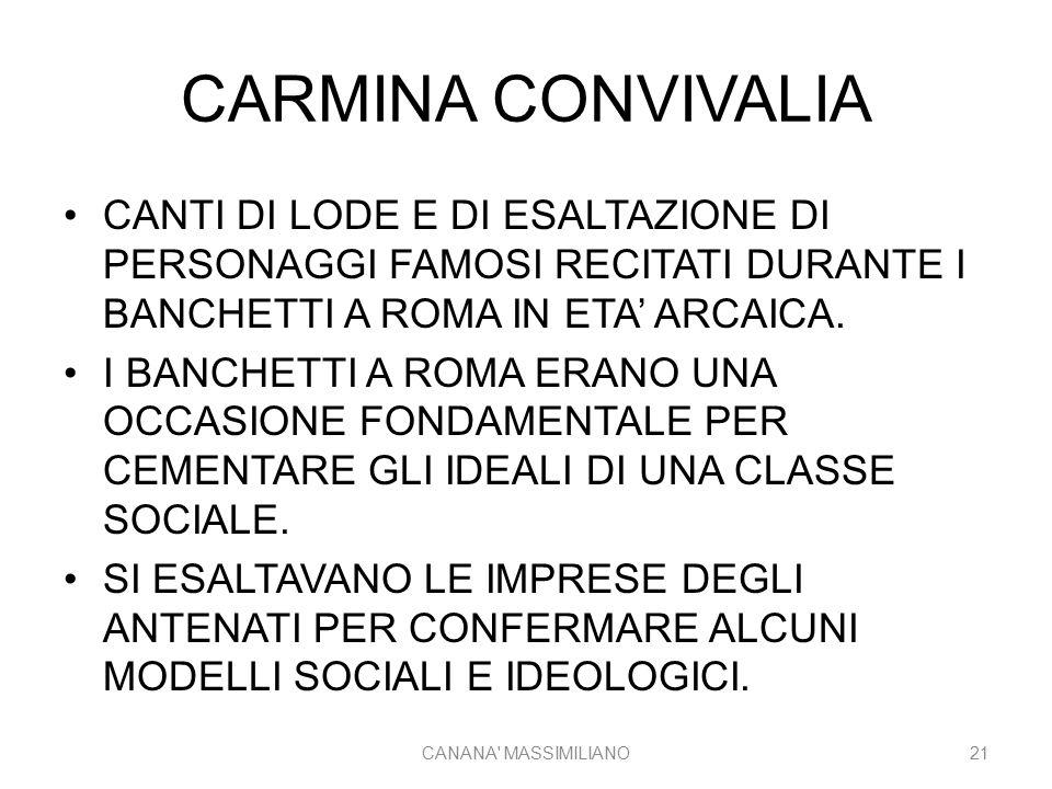 CARMINA CONVIVALIA CANTI DI LODE E DI ESALTAZIONE DI PERSONAGGI FAMOSI RECITATI DURANTE I BANCHETTI A ROMA IN ETA' ARCAICA.