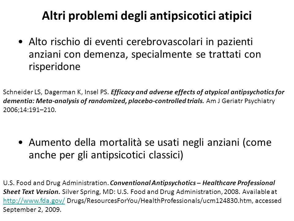 Altri problemi degli antipsicotici atipici
