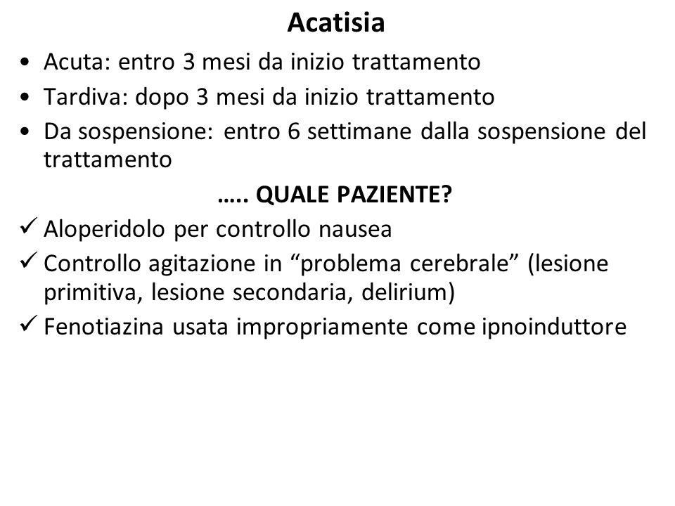 Acatisia Acuta: entro 3 mesi da inizio trattamento