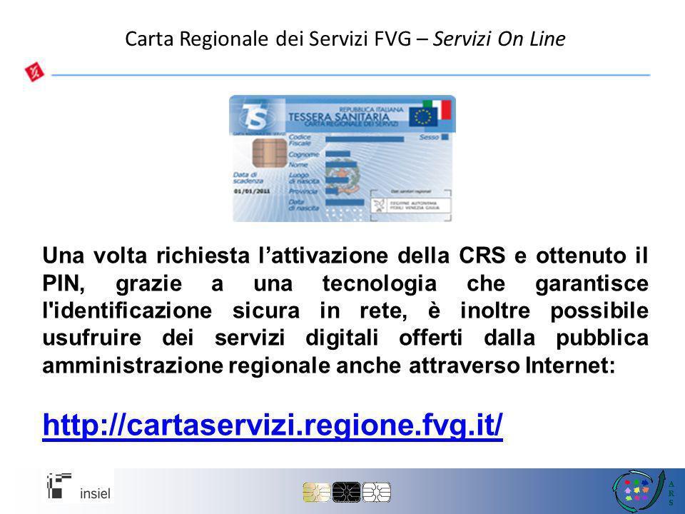 Carta Regionale dei Servizi FVG – Servizi On Line
