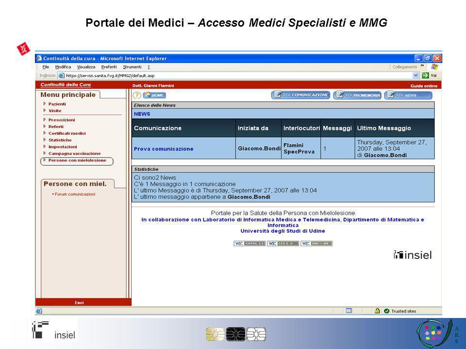 Portale dei Medici – Accesso Medici Specialisti e MMG