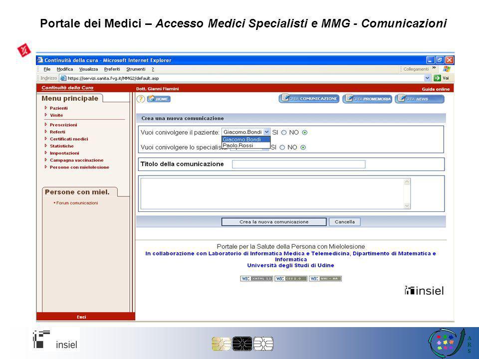 Portale dei Medici – Accesso Medici Specialisti e MMG - Comunicazioni