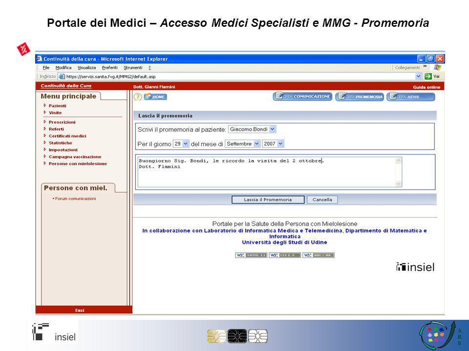 Portale dei Medici – Accesso Medici Specialisti e MMG - Promemoria