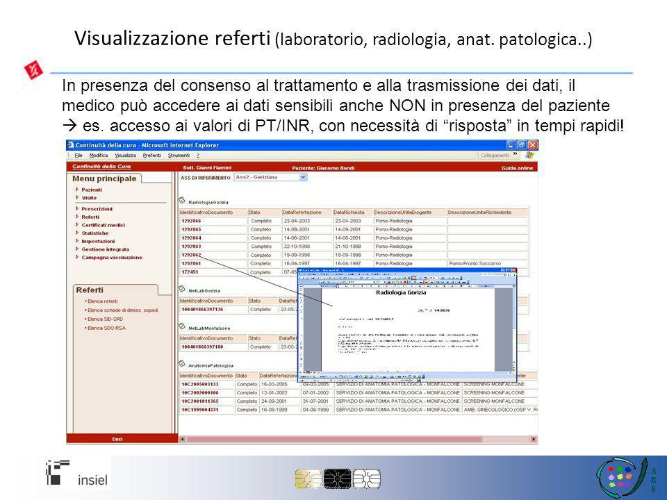 Visualizzazione referti (laboratorio, radiologia, anat. patologica..)